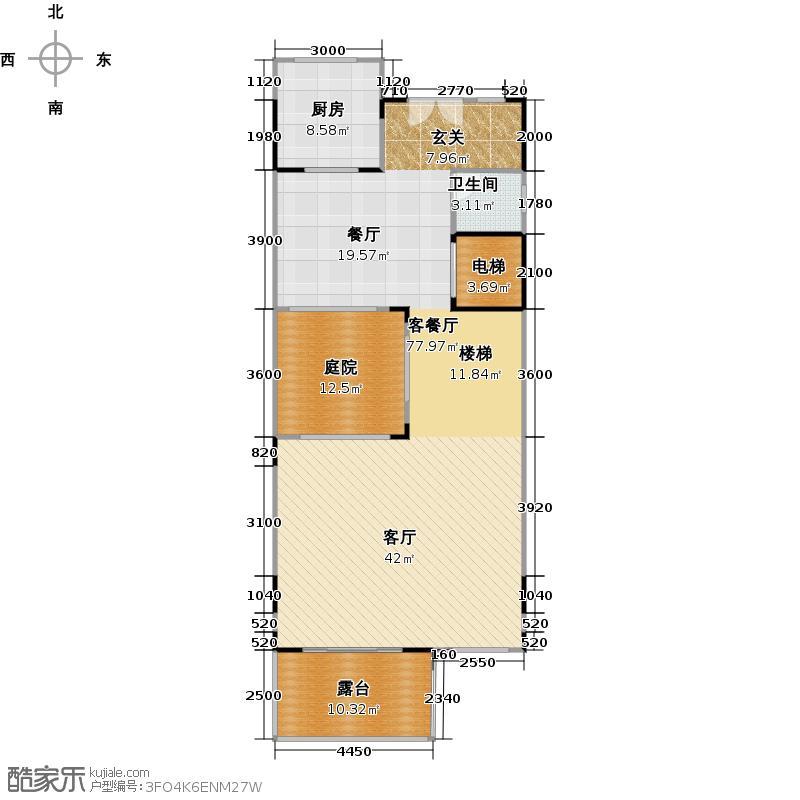 鸿威海怡湾111.00㎡海际别墅Tb二层户型1厅1卫1厨