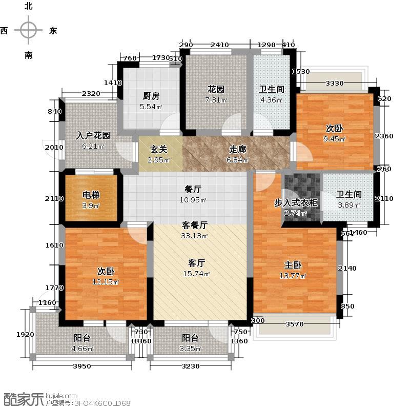 金帝海珀139.90㎡一期E户型3室2厅2卫