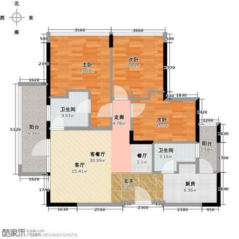 中央财津3室1厅2卫0厨89.00㎡户型图