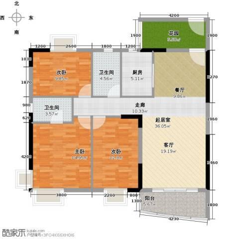 俊怡御景花园3室0厅2卫1厨138.00㎡户型图