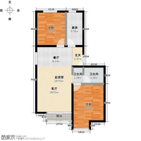 中国铁建・花语城2室0厅1卫1厨90.00㎡户型图