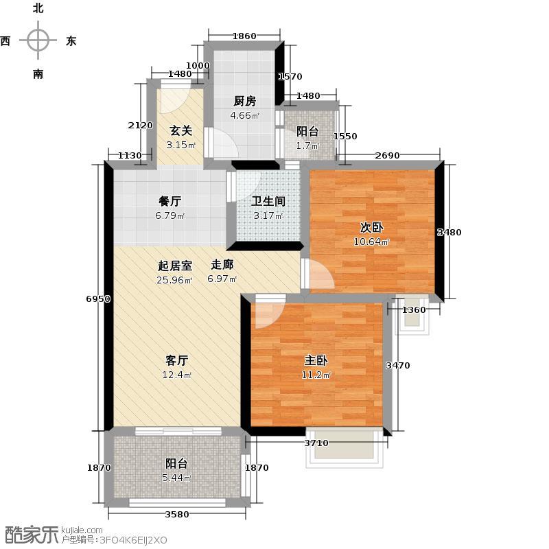 春江花苑84.66㎡一期D3户型2室1卫1厨