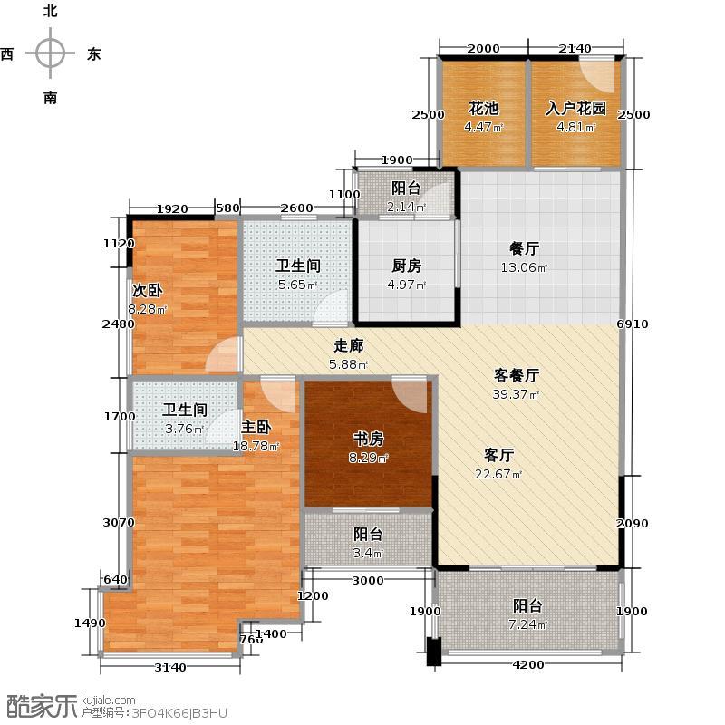 汇东国际花园120.13㎡A区5栋2-28F02单位户型3室1厅2卫1厨