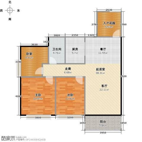 元邦明月金岸2室0厅1卫1厨105.00㎡户型图