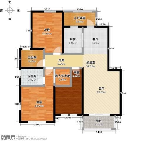 华菁水苑3室0厅2卫1厨122.00㎡户型图