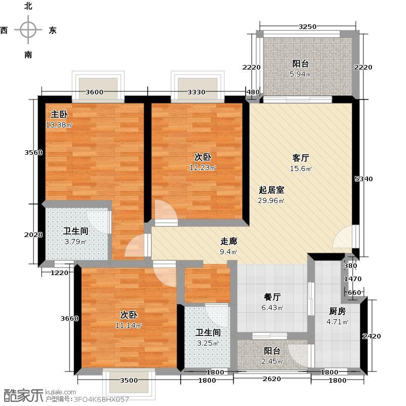 春江花苑114.05㎡一期E1户型3室2卫1厨