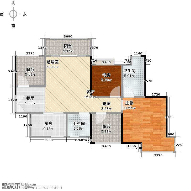 深业东城国际78.86㎡A1户型2室2卫1厨