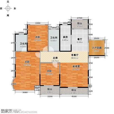 嘉福尚江尊品3室1厅2卫1厨161.00㎡户型图