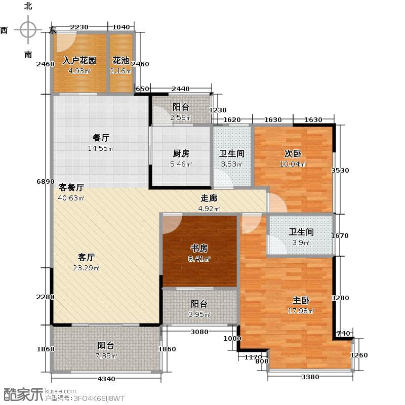 汇东国际花园120.13㎡5栋01单位户型3室1厅2卫1厨