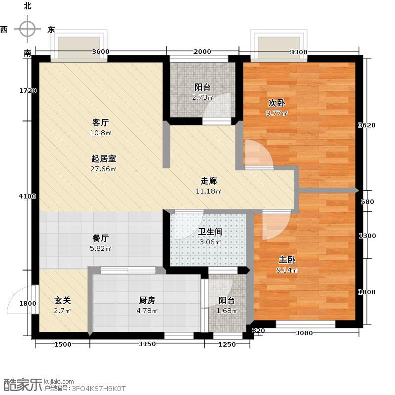 华宇静苑74.81㎡4栋3单元2号2室户型2室1卫1厨