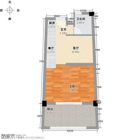 合正东部湾1厅1卫0厨58.00㎡户型图