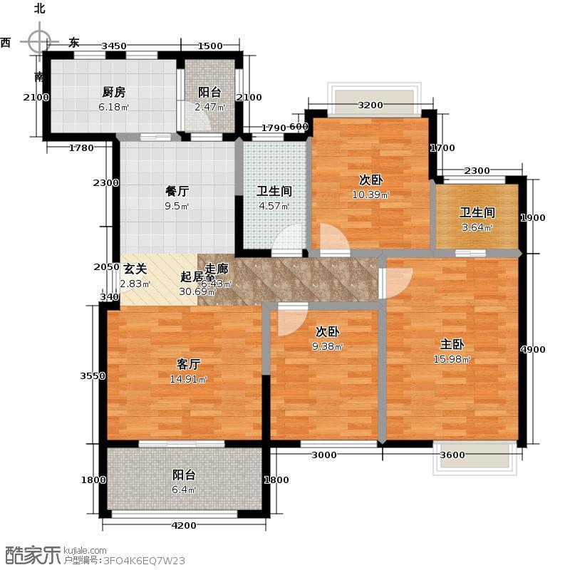 华宇静苑111.10㎡2栋2单元2号3室户型3室2卫1厨