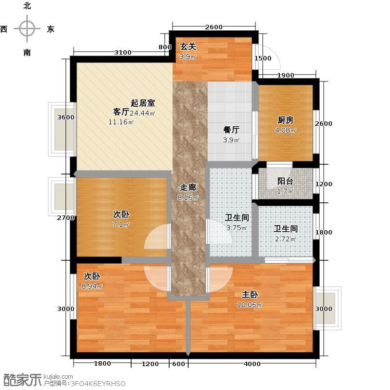 华宇静苑82.85㎡4栋2单元1号3室户型3室2卫1厨