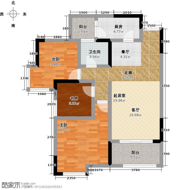 金辉枫尚93.00㎡A户型3室1卫1厨