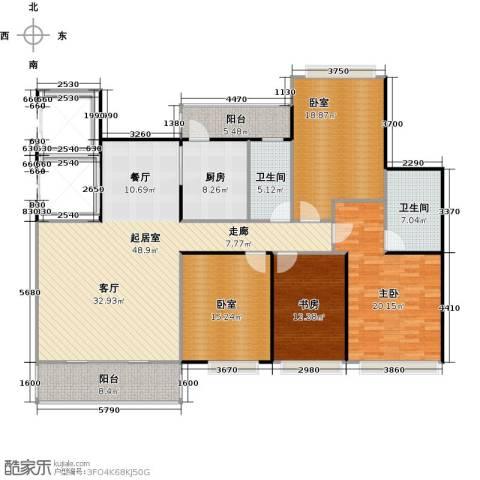 元邦明月金岸2室0厅2卫1厨162.00㎡户型图