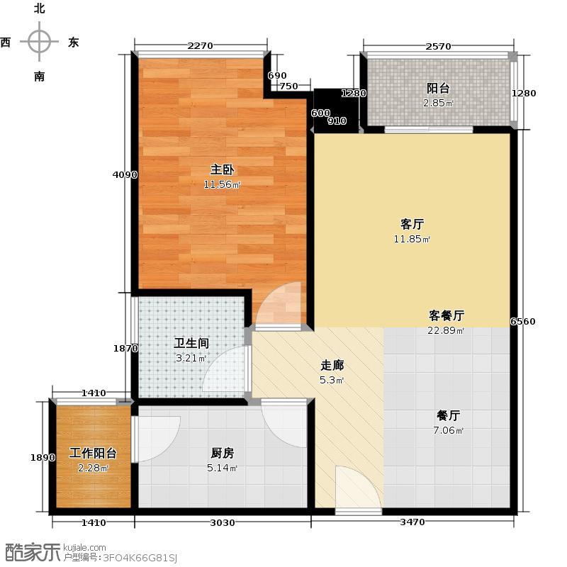 汇东国际花园57.38㎡4栋03单位户型1室1厅1卫1厨
