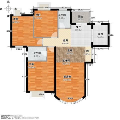 新华联运河湾3室1厅2卫1厨144.00㎡户型图