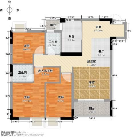 三正世纪豪庭3室0厅2卫1厨119.00㎡户型图