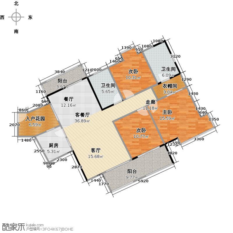 汇东国际花园129.37㎡A区1栋2-28F04单位户型3室1厅2卫1厨
