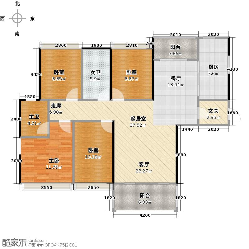 番禺・星尚花园125.00㎡C户型1室1厨