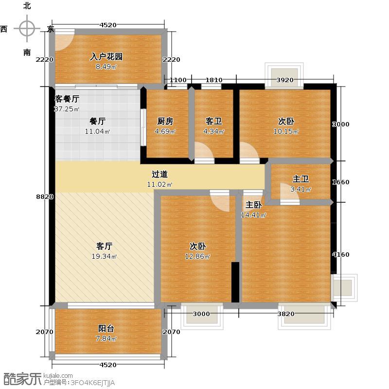 俊怡云山御居121.00㎡1栋、3栋01户型3室1厅1厨