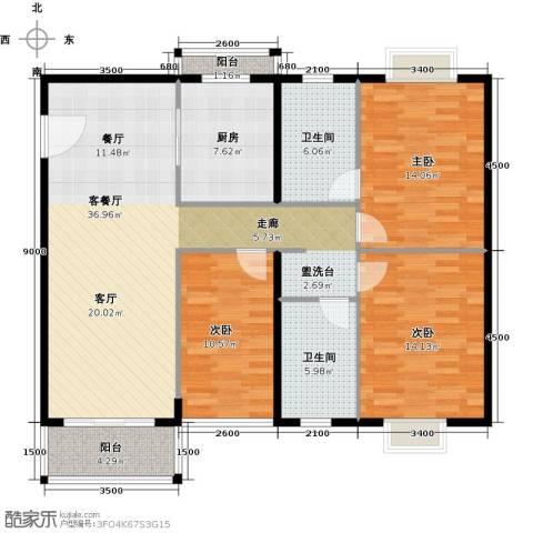 世纪新潮豪园3室1厅2卫1厨139.00㎡户型图