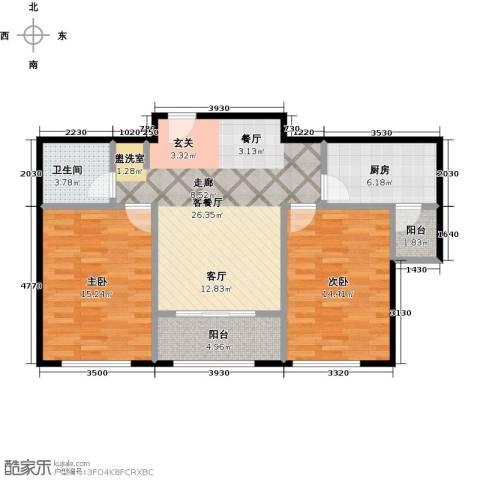 中海金石公馆2室1厅1卫1厨85.00㎡户型图