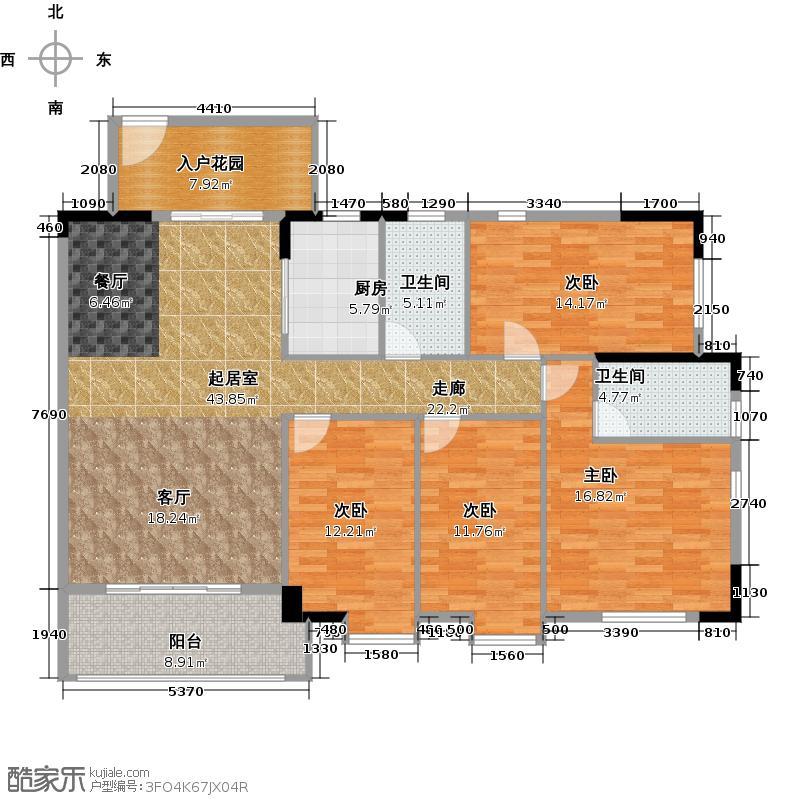 海力花园151.61㎡南沙阳光邑隽单位南北向户型4室2卫1厨