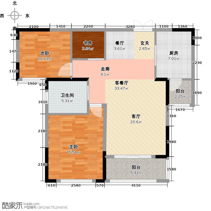 新理想家91.88㎡B户型3室1厅1卫1厨