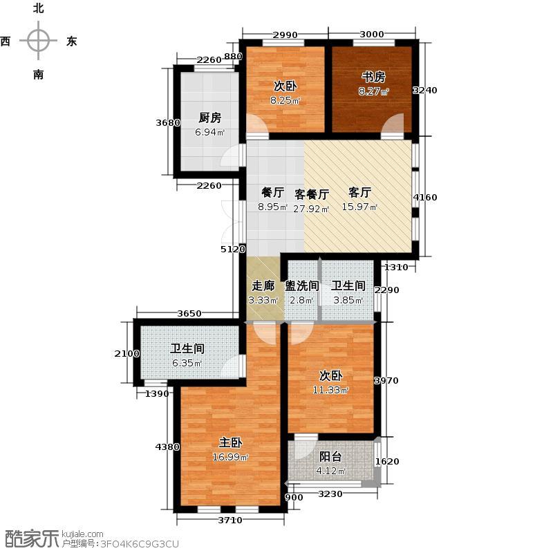 高运学林尚苑90.00㎡户型2室2厅2卫