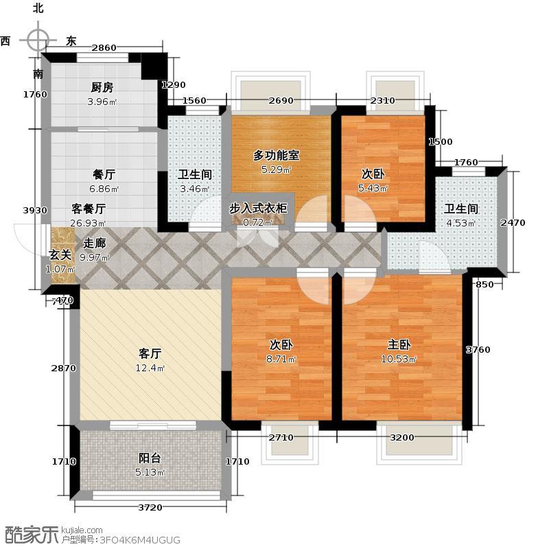 艾菲国际88.30㎡户型3室1厅2卫1厨