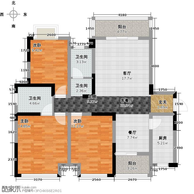 河滨鹭岛125.49㎡一期B1户型3室1厅2卫1厨