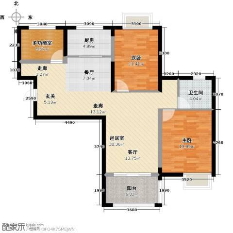 荣鼎幸福城2室0厅1卫1厨95.00㎡户型图