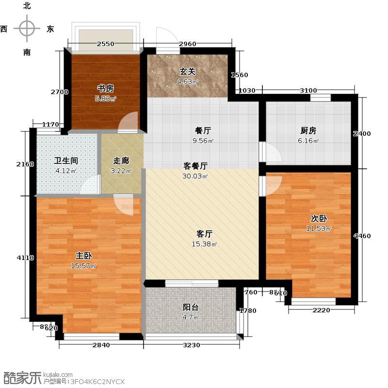 复地上城88.00㎡B3户型3室2厅1卫