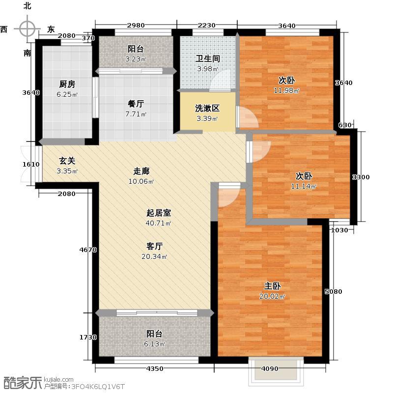弘阳旭日上城117.24㎡二区B4户型3室1卫1厨