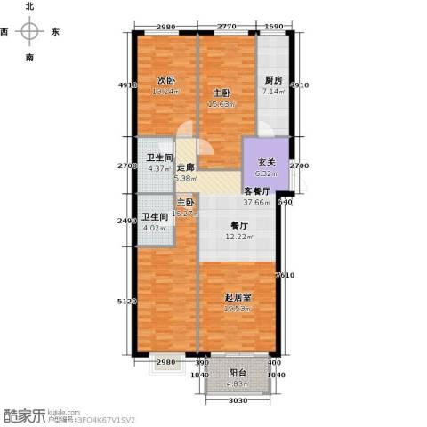 戛纳35号3室1厅2卫1厨140.00㎡户型图