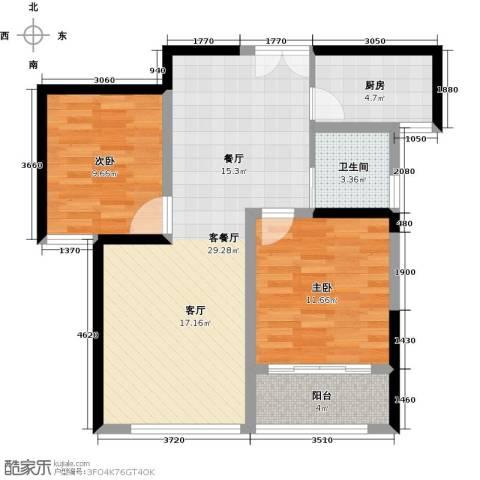 晓庄国际广场2室1厅1卫1厨90.00㎡户型图