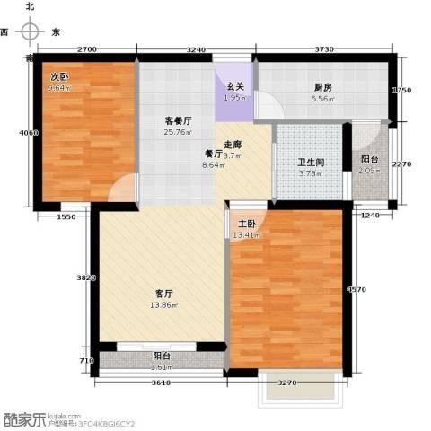 DBC加州小镇2室1厅1卫1厨88.00㎡户型图