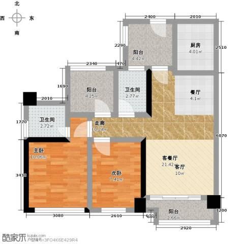 龙华花半里2室1厅2卫1厨88.00㎡户型图
