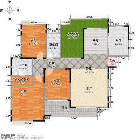 金域中央天睿3室1厅2卫1厨169.00㎡户型图