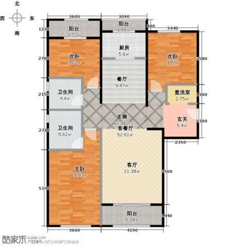 中海金石公馆3室1厅2卫0厨133.00㎡户型图