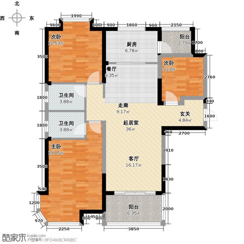 碧桂园凤凰城133.00㎡zq-02户型3室2卫1厨