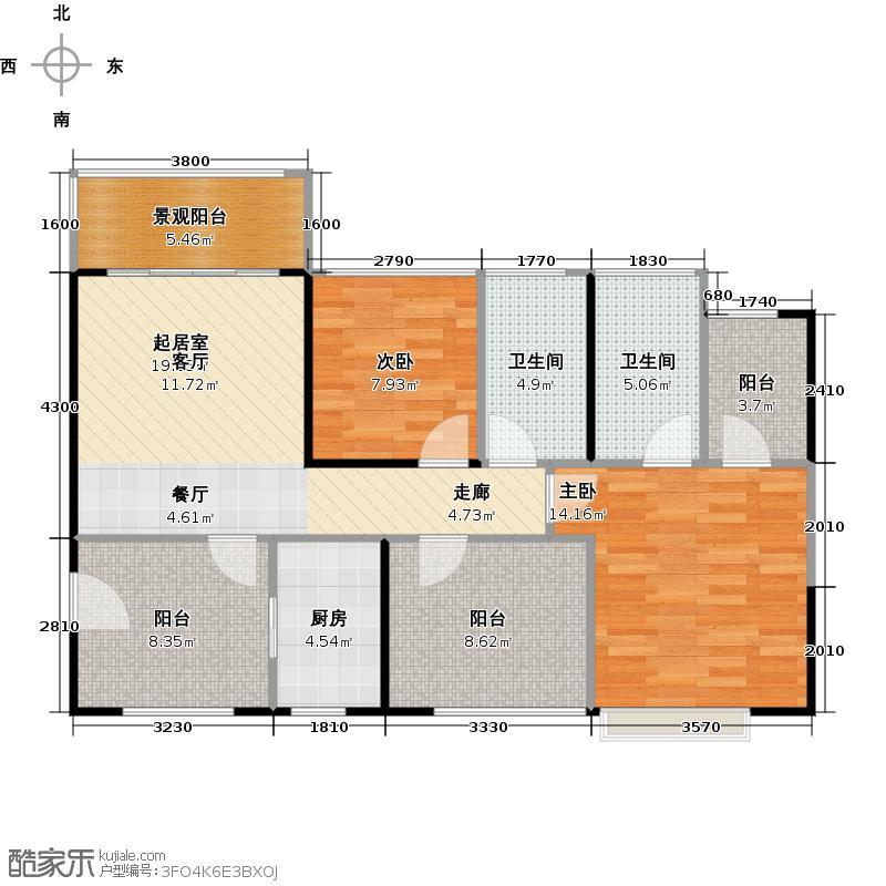 深业东城国际88.78㎡07型随享府邸户型2室2卫1厨