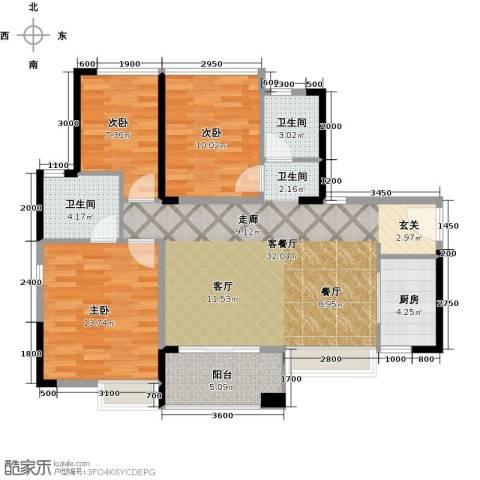 万科四季花城3室1厅2卫1厨97.00㎡户型图
