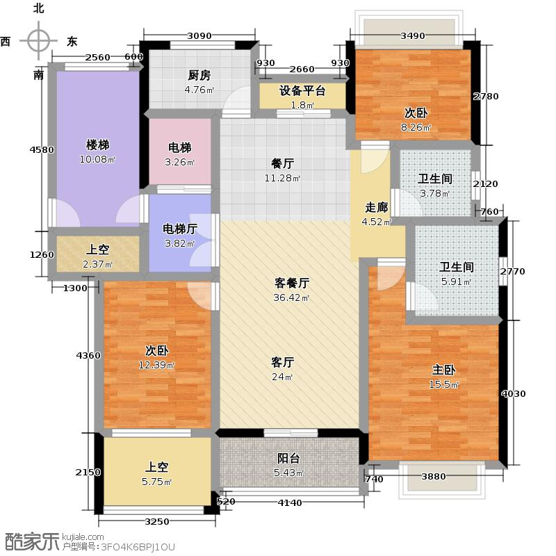 复地新都国际142.00㎡B户型3室1厅2卫1厨