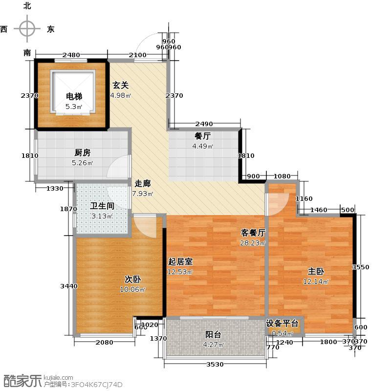 水韵翔庭75.30㎡A栋标准层06东南朝向户型2室1厅1卫1厨