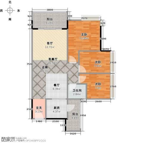 阳光海岸三期晶岸3室1厅1卫1厨106.00㎡户型图