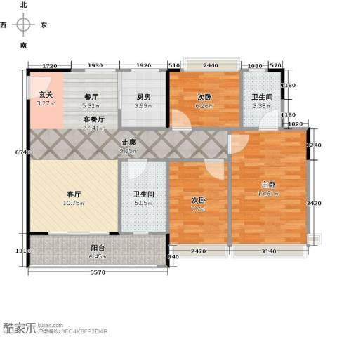 阳光海岸三期晶岸3室1厅2卫1厨101.00㎡户型图