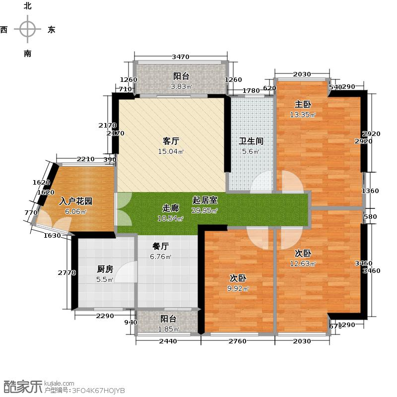 中国铁建荔湾国际城98.00㎡2栋2单元2~32层04户型3室1卫1厨