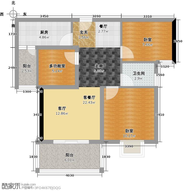 河滨鹭岛80.58㎡一期D5-偶数层户型1厅1卫1厨
